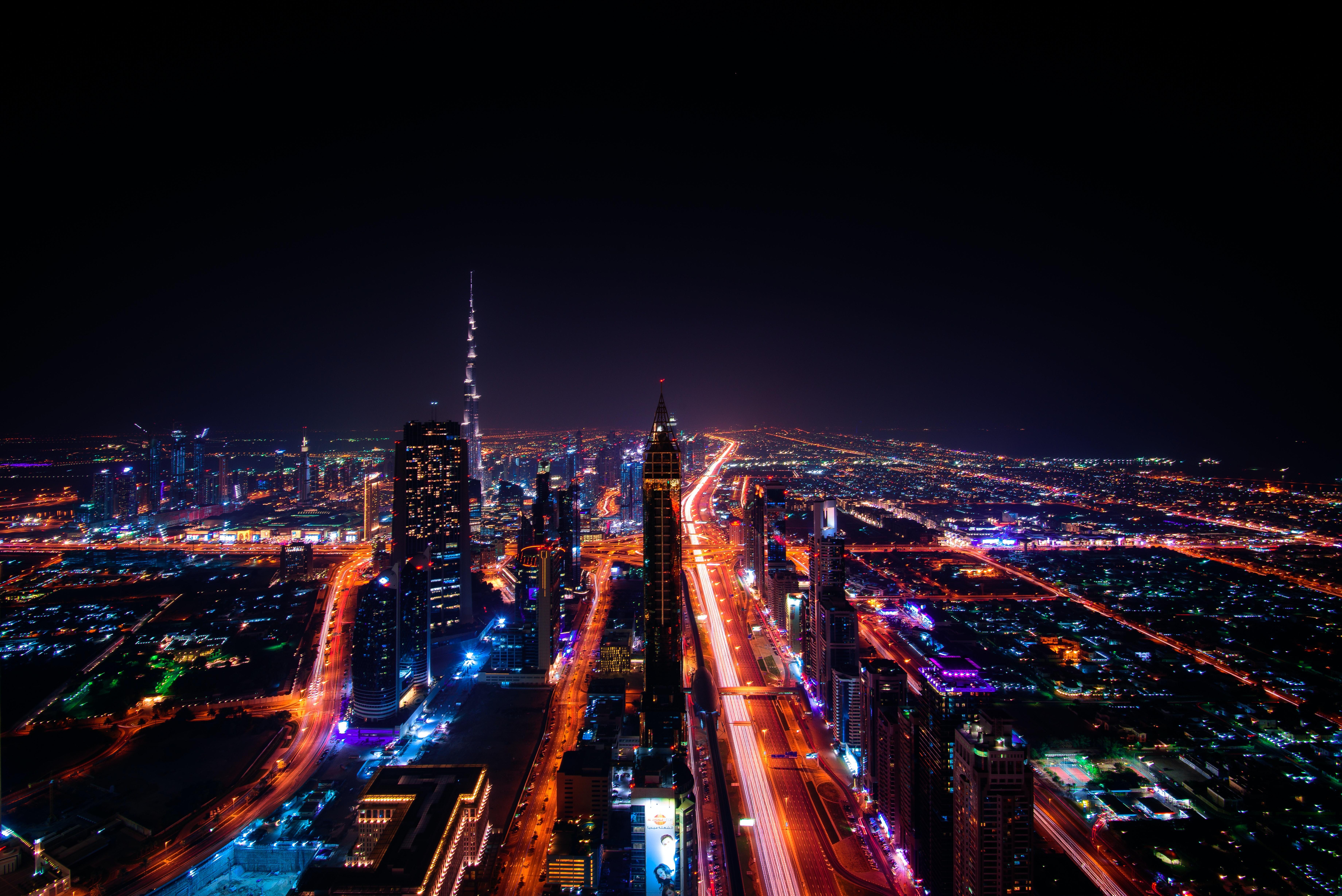 Night sklyline over city