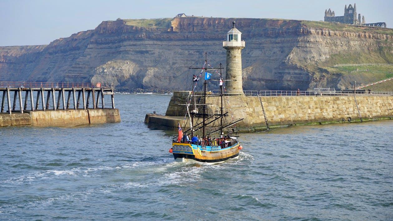 båt, fyr, hav