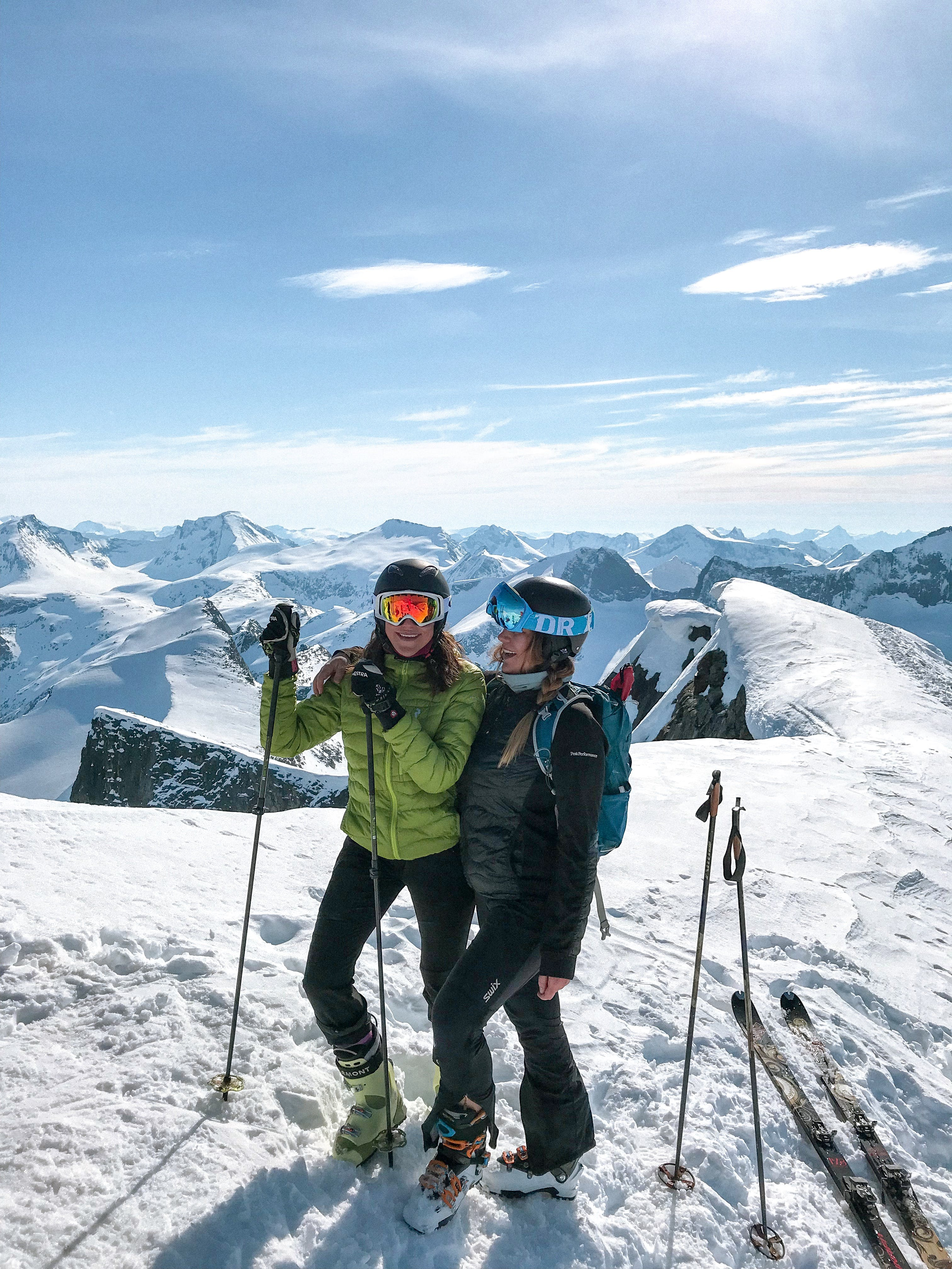 Two Women Skiing on Snow
