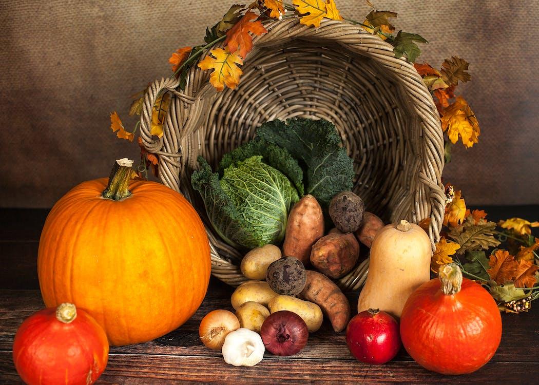 Vegetable and Crops Beside Spilled Basket