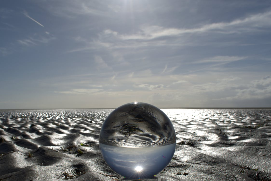 Sand Reflecting on Water Bubble