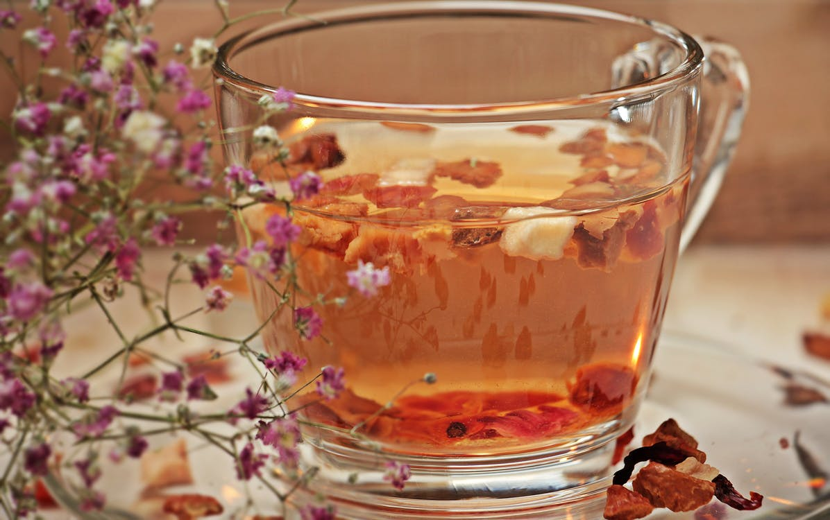 Clear Glass Teacup With Brown Liquid