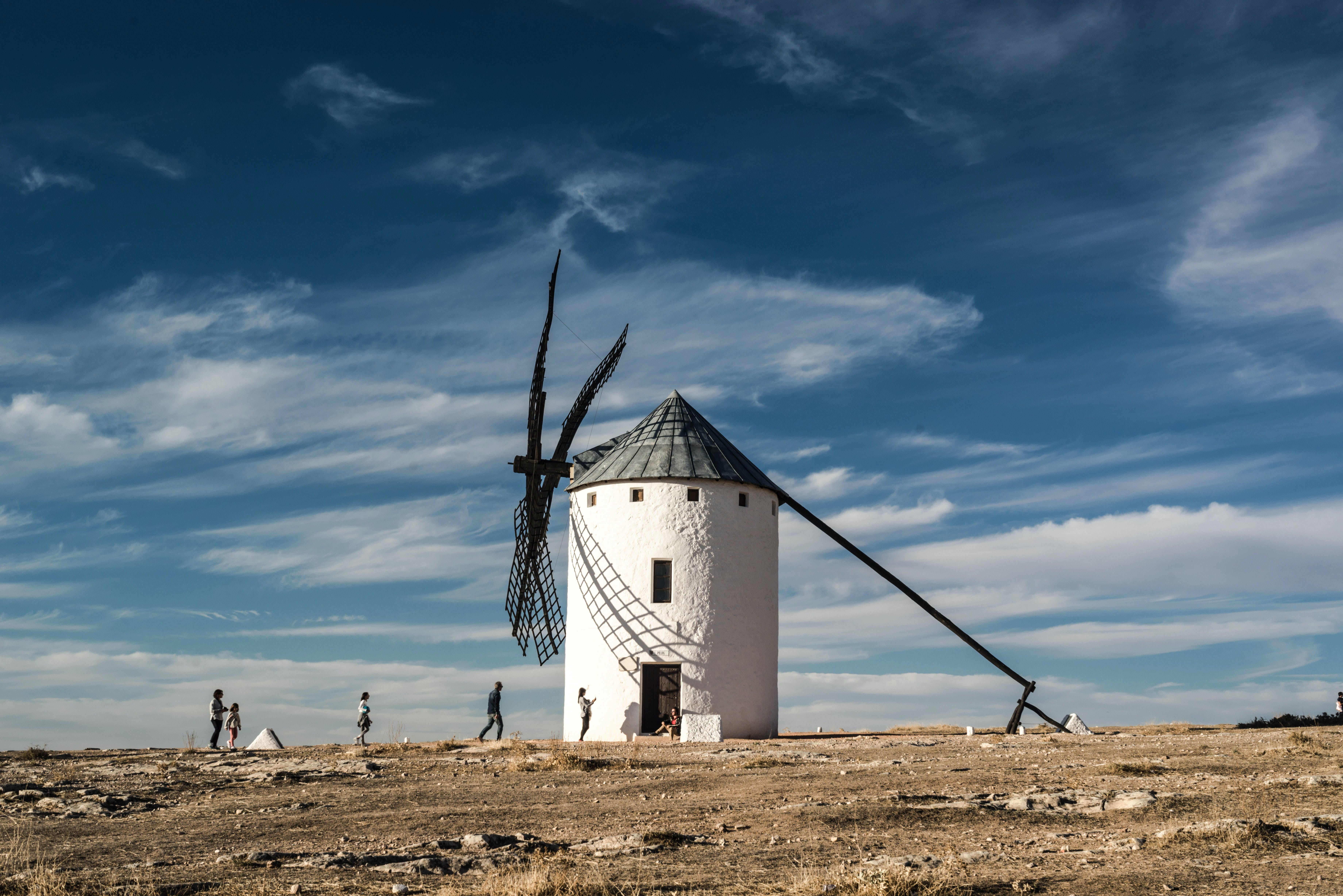 White and Black Windmill Building