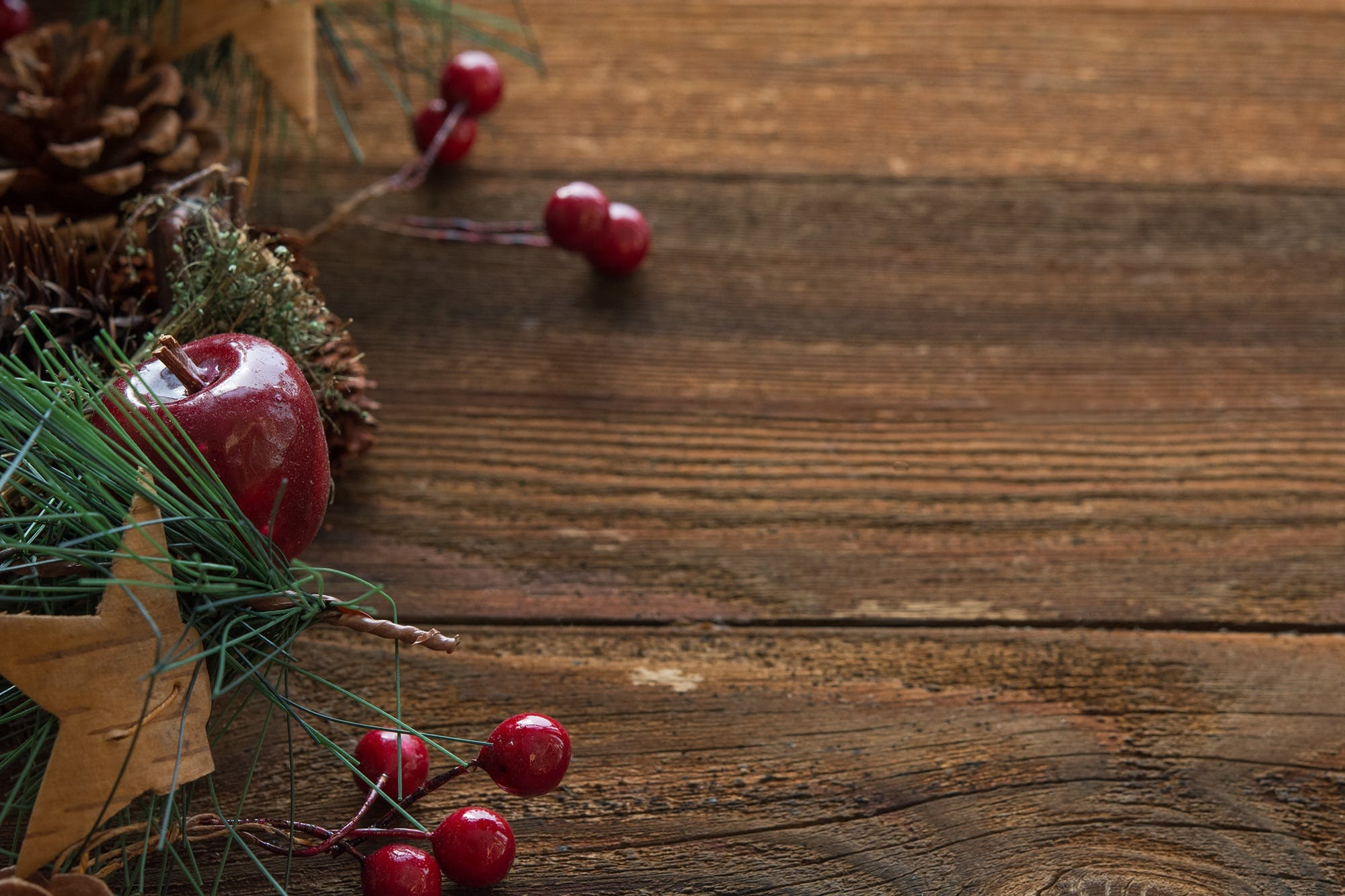Apple and Cherry Fruits on Wood Plank