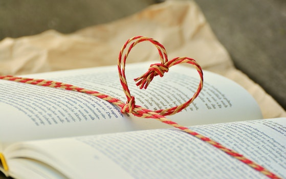 Yellow and Red Heart Knot on Black Labeled Book