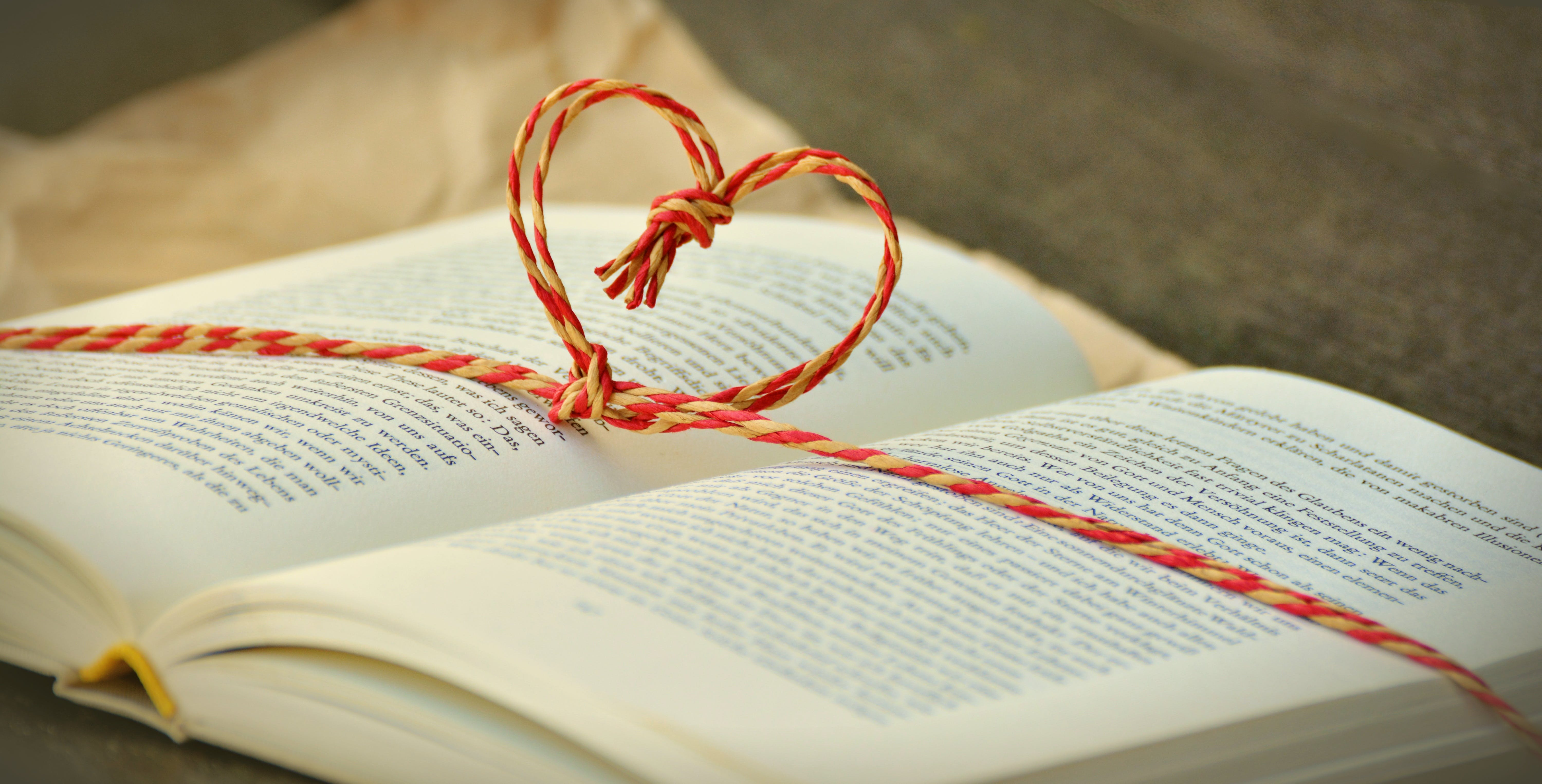 Tied Red and Beige Heart Knot on Opened Book Selective Focus Photo