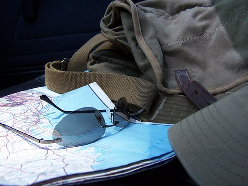 Free stock photo of road map, sun glasses, travelling