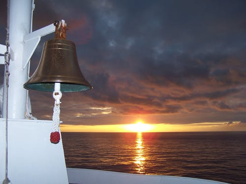 Free stock photo of bell, cruise ship, sunset