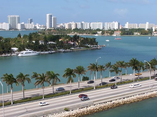Free stock photo of miami, ocean shore, road, traffic