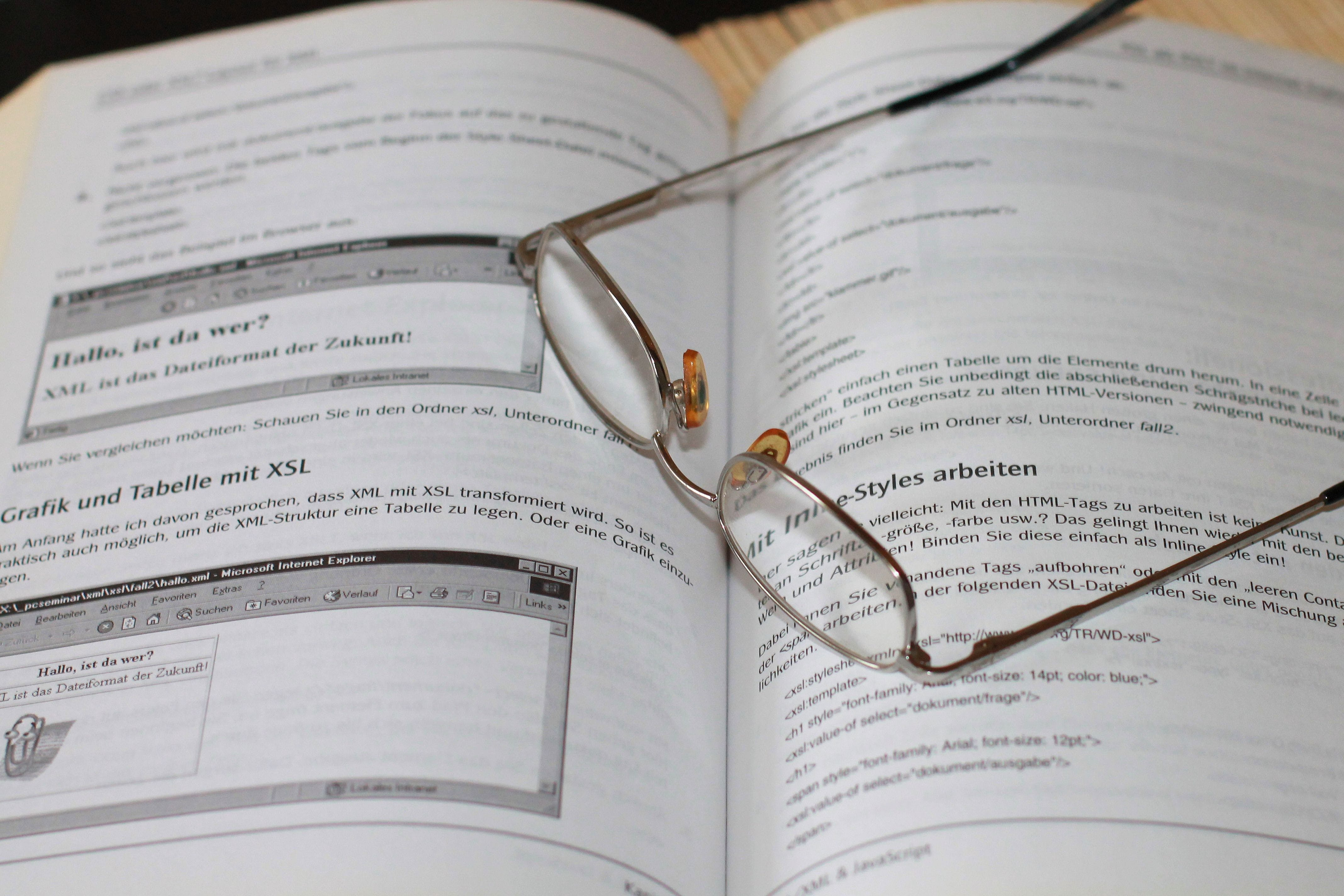Free stock photo of glasses, book, read, learn