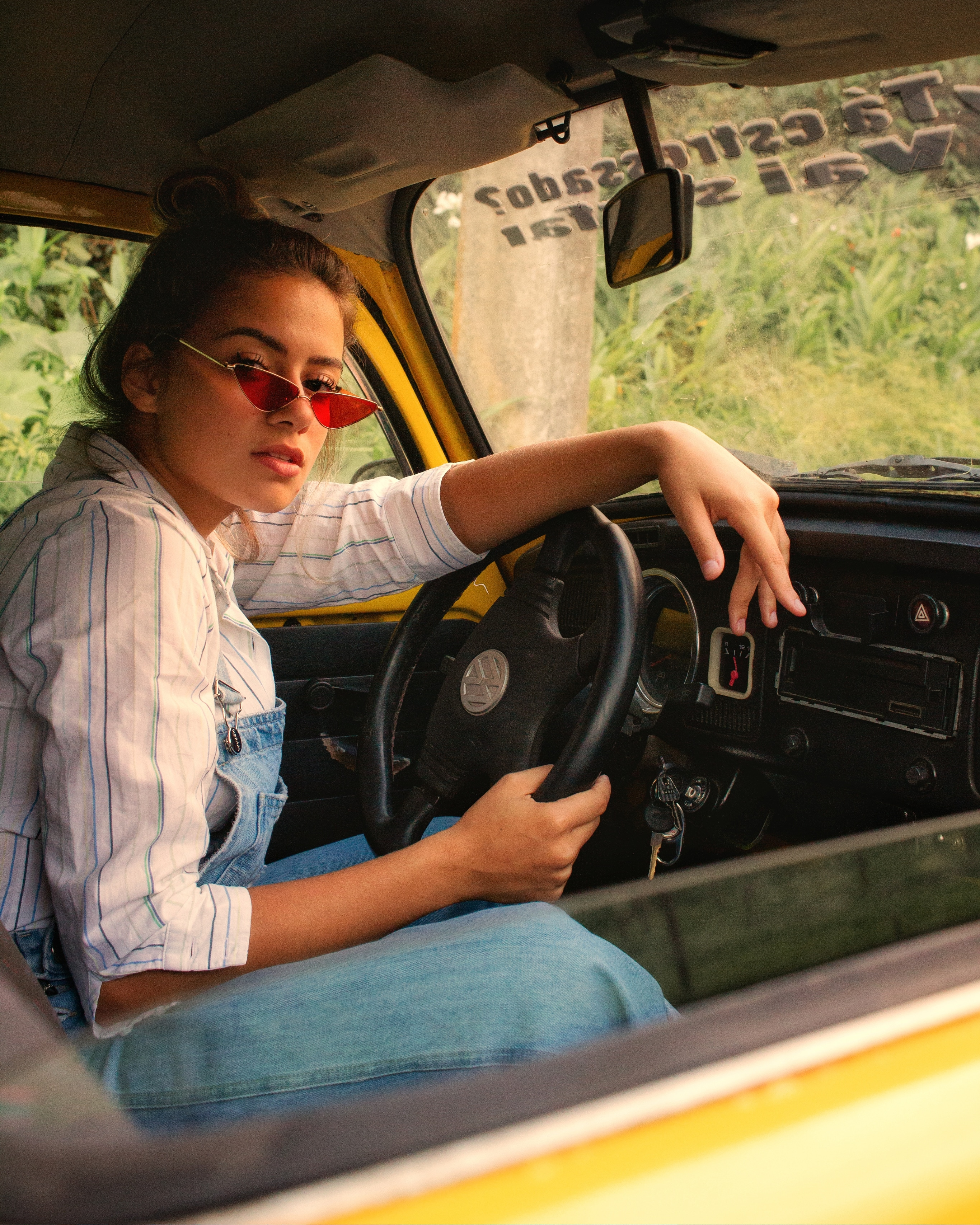 Woman Riding Inside Car