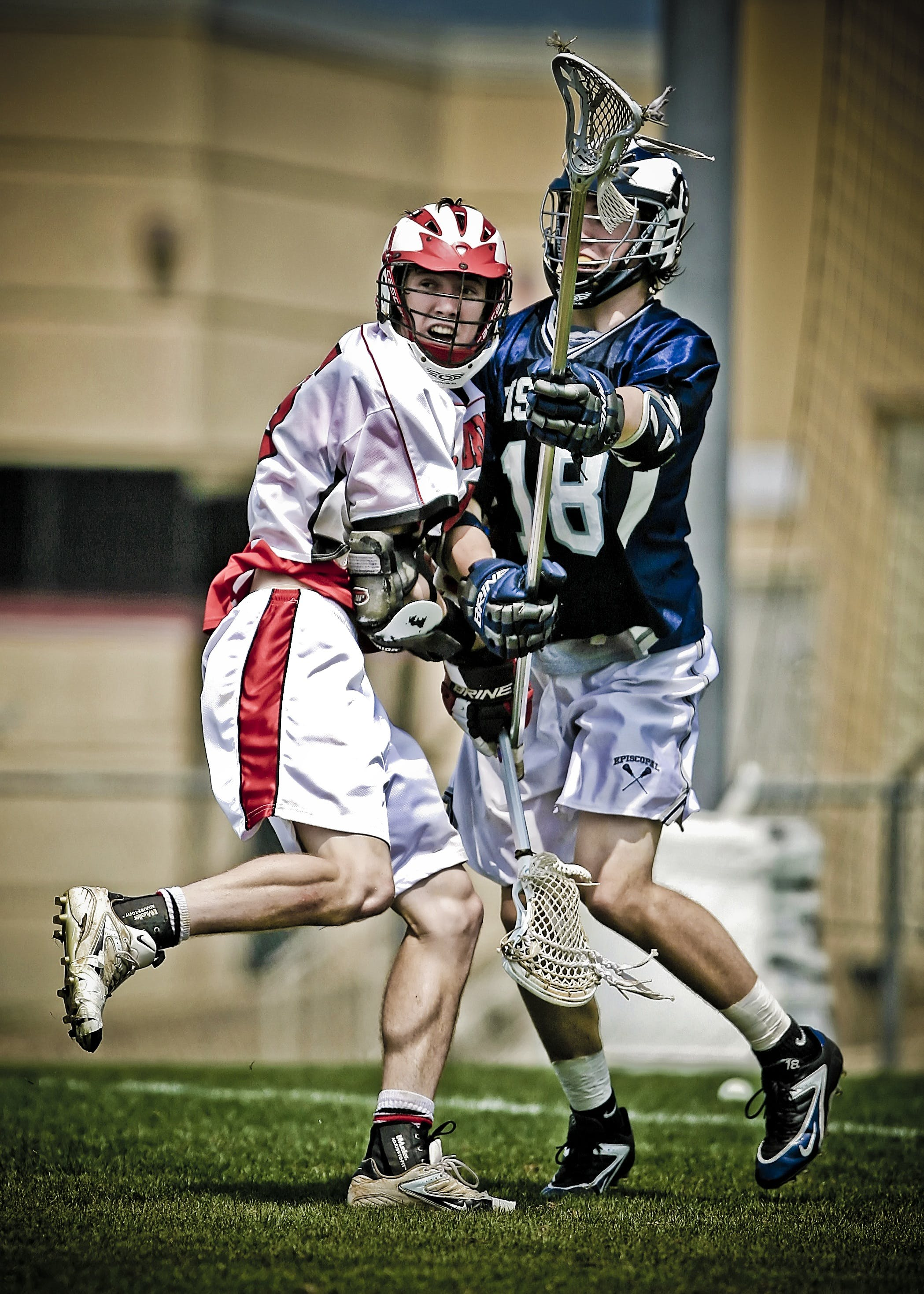 Two Men Playing Lacrosse