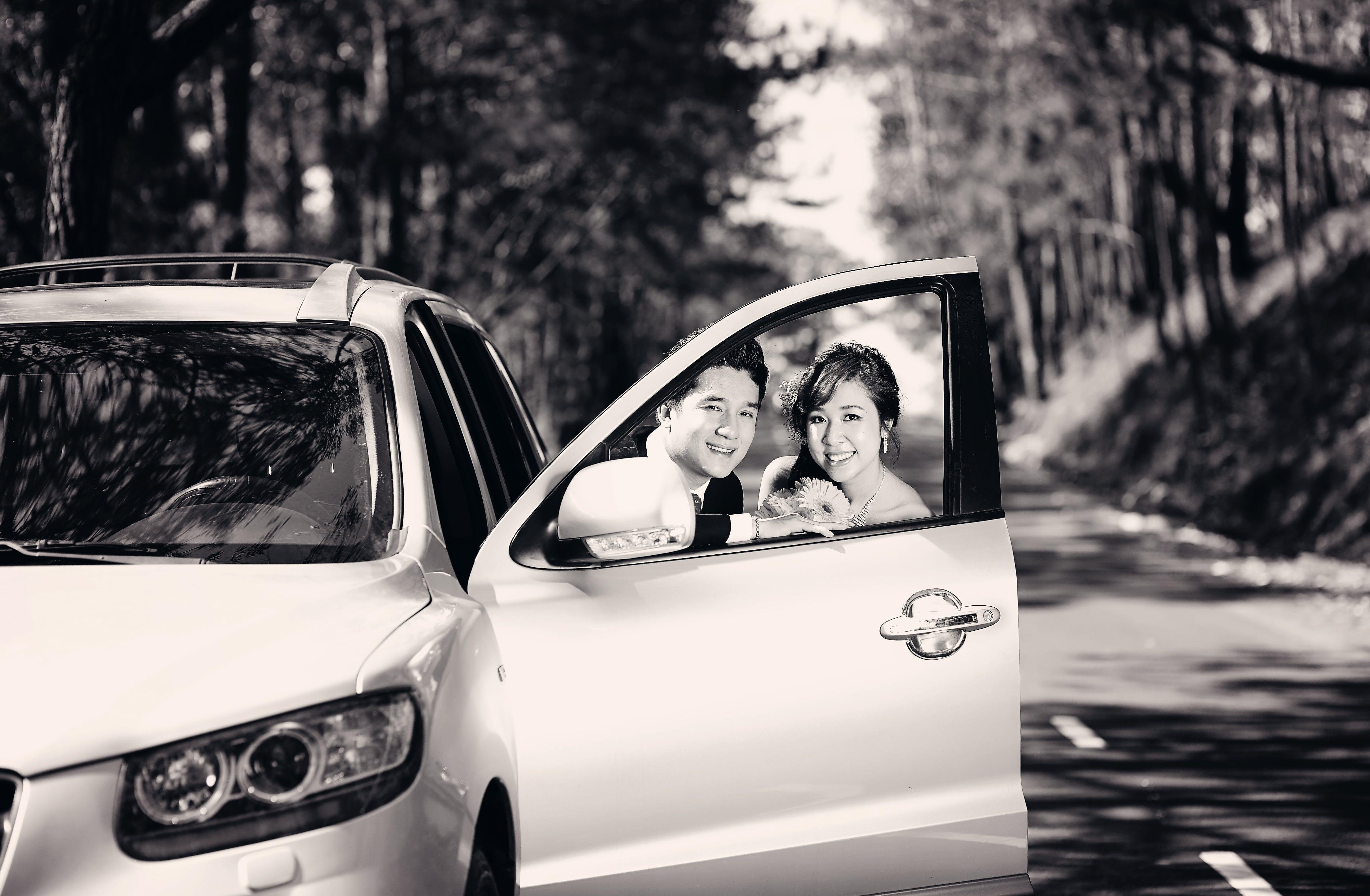 aantrekkelijk, auto, blij