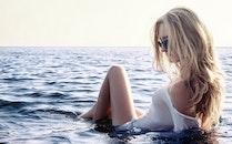 sea, beach, woman