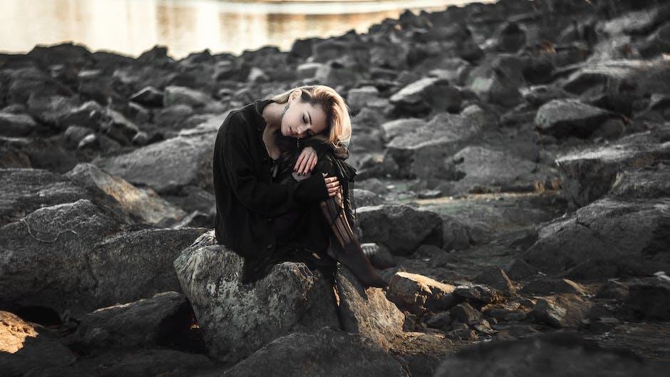 adult, beach, black dress