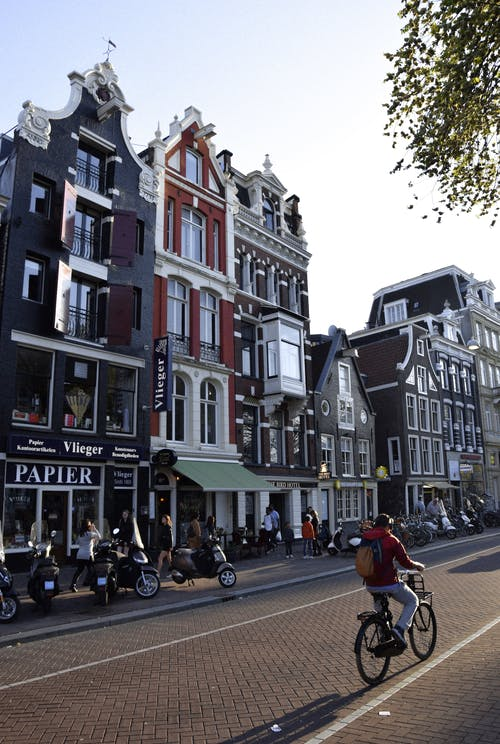 Sunny street with cozy typical houses in Amsterdam