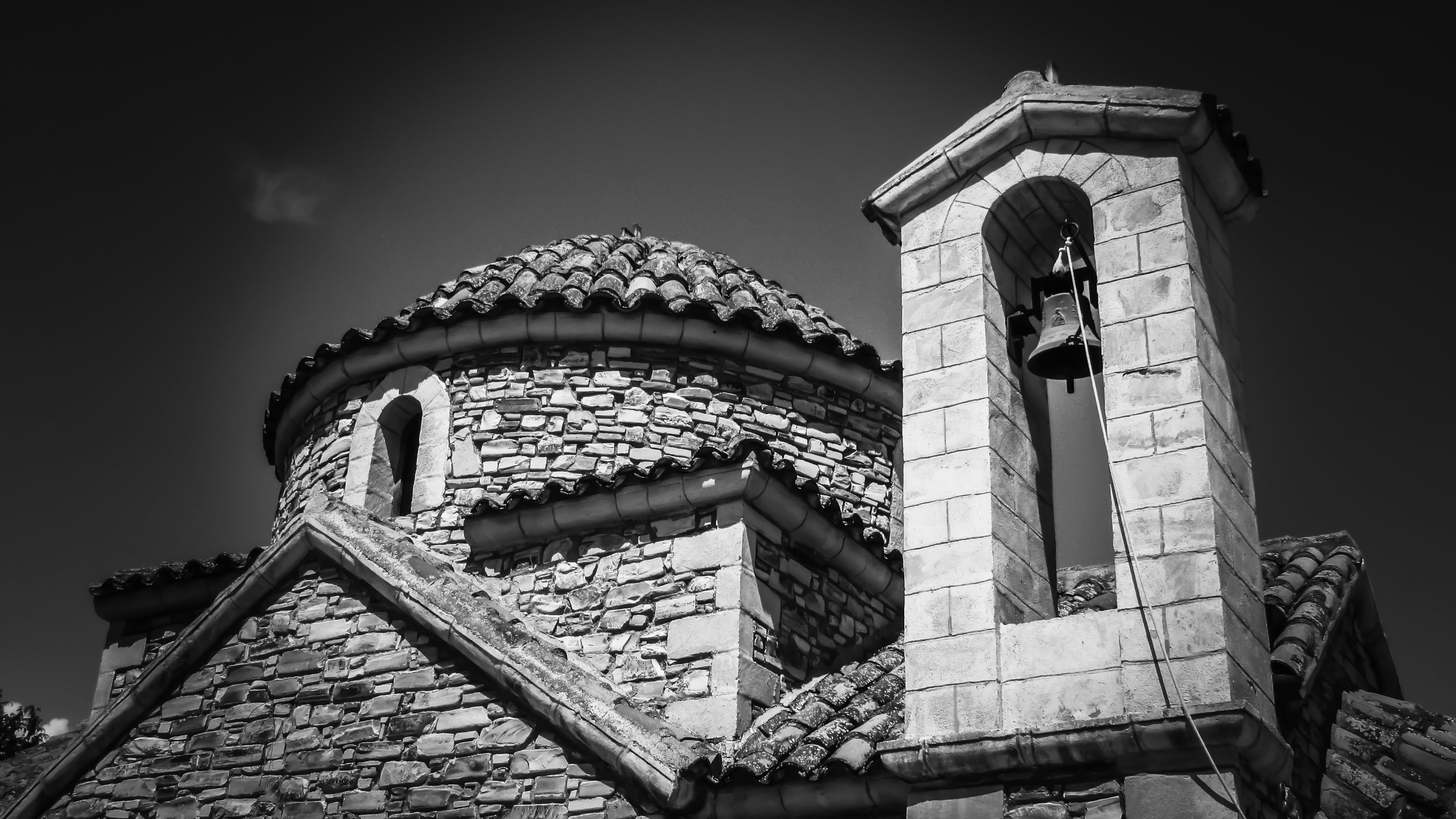 Grayscale Photography of Brick Church