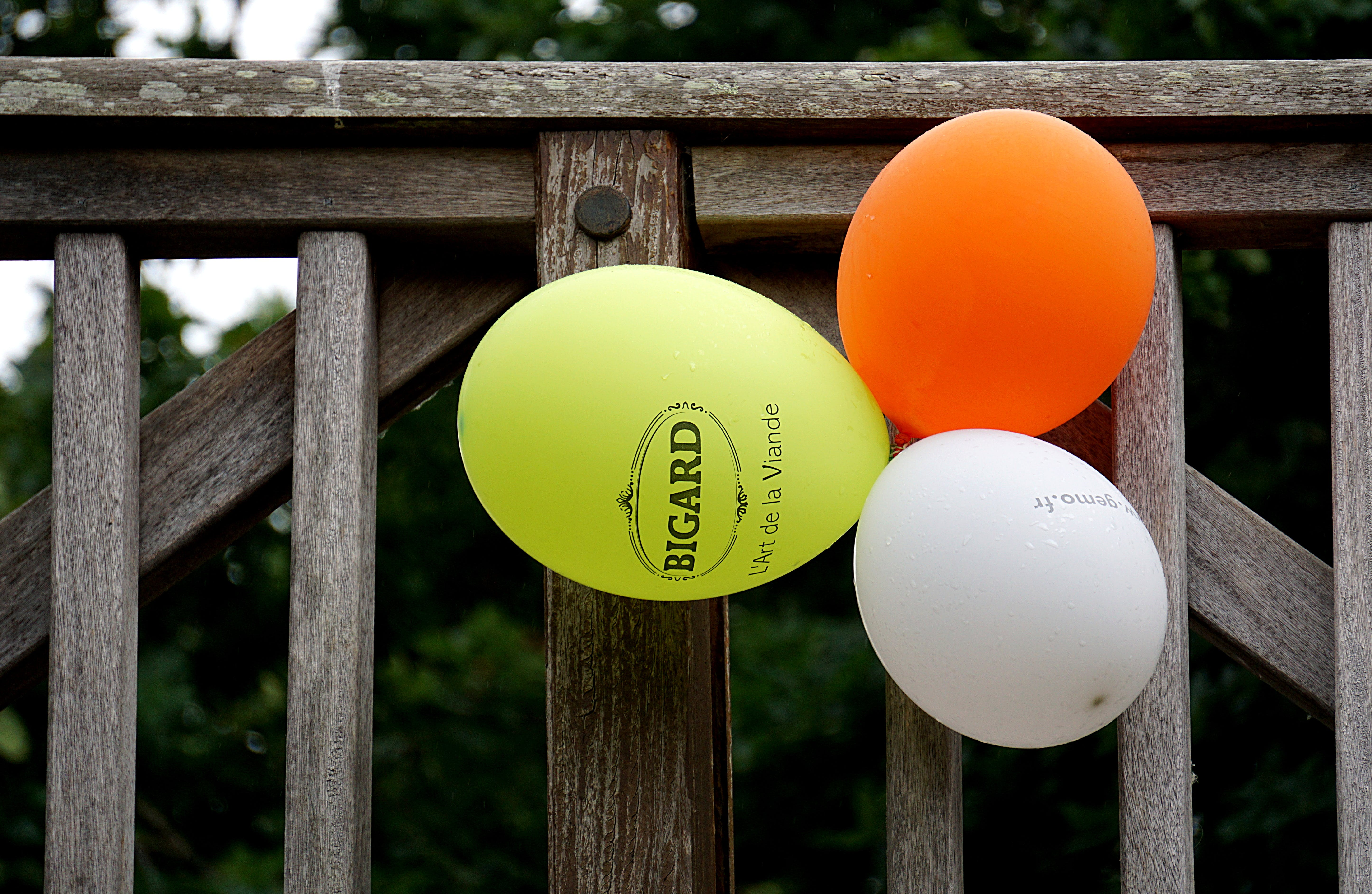 Yellow Orange and White Balloon Beside Gray Wooden Fence