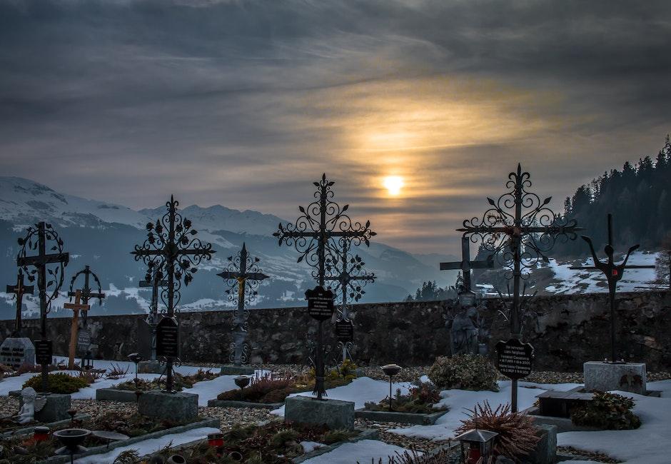 beautiful, cemetery, clouds