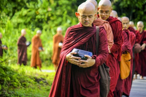 Monks Holding Jars Near Green Leafed Trees