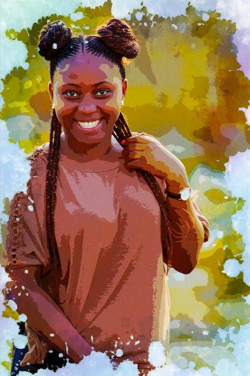 Fotobanka sbezplatnými fotkami na tému #lady, africké dievča, farebné maľovanie, vodovky