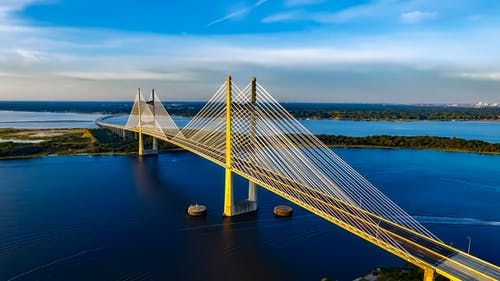 Fotobanka sbezplatnými fotkami na tému architektúra, dames point bridge, dopravný systém, Florida