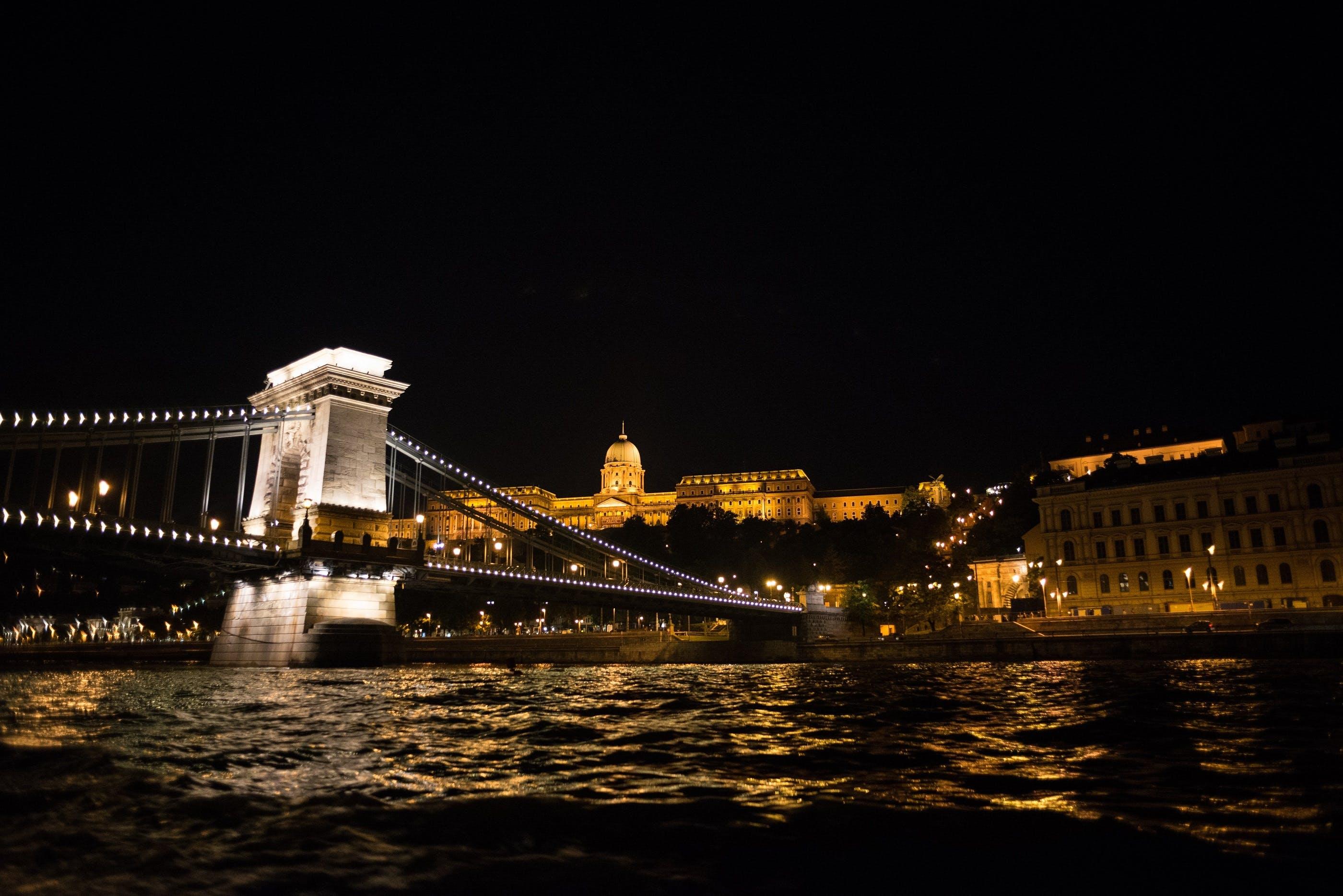 Bridge Near Buildings at Night
