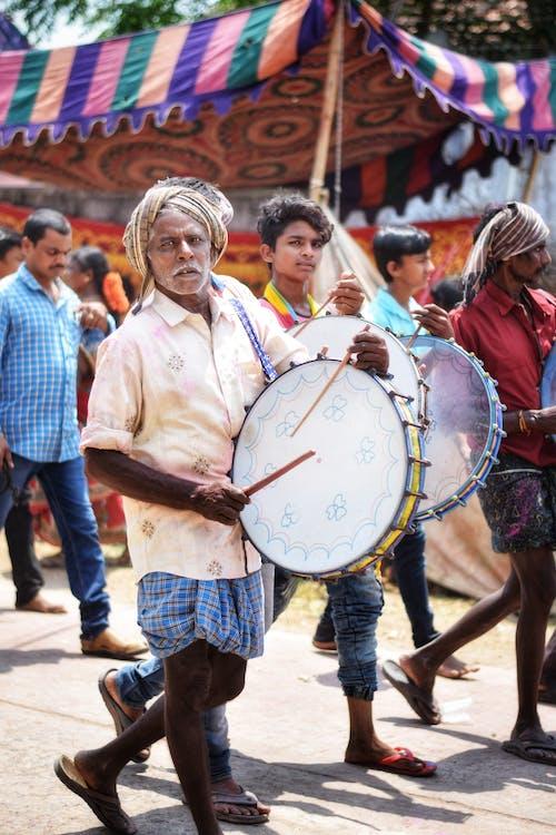 barevný, bicí nástroj, bubeník