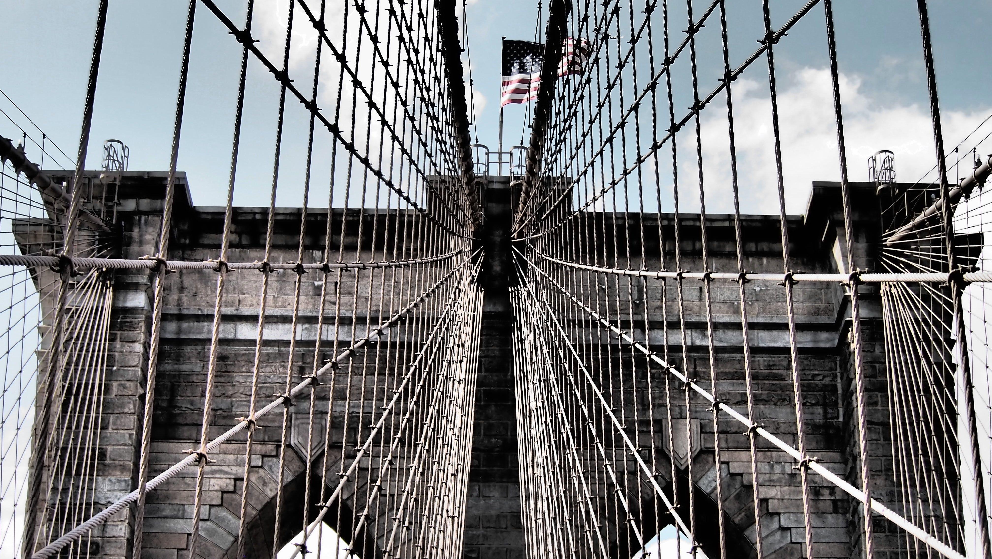 Brooklyn Köprüsü, köprü, mimari, New York içeren Ücretsiz stok fotoğraf