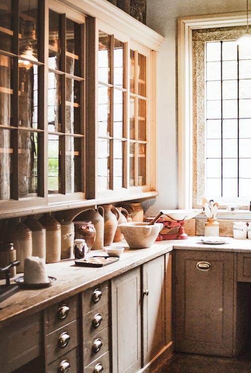 Brown Wooden Kitchen Cupboards