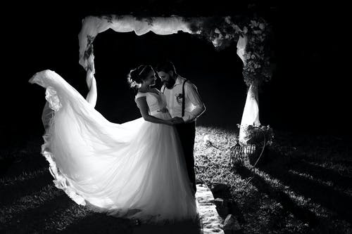 Grayscale Photo of Newly Wed