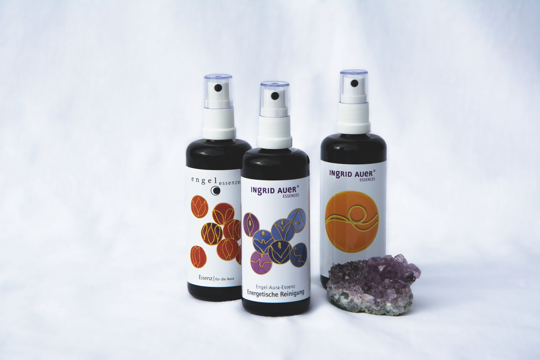 3 Spray Bottles Near Purple Geode