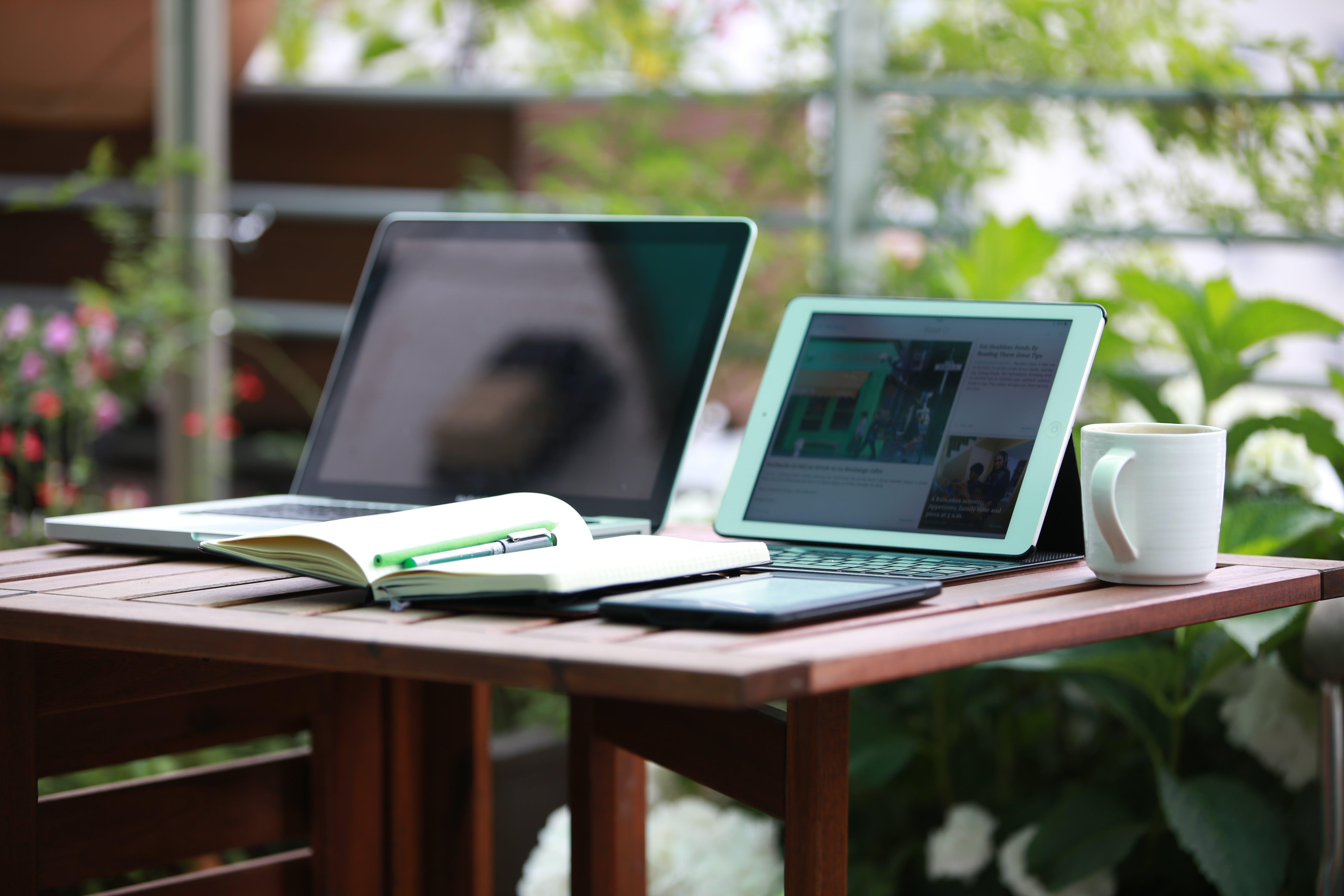 computers, cup, desk
