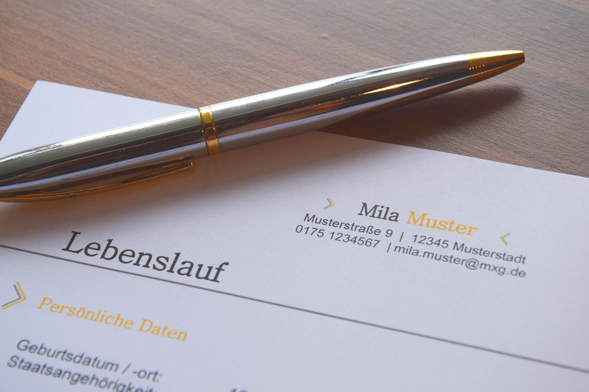 Pen on Lebenslauf Letter