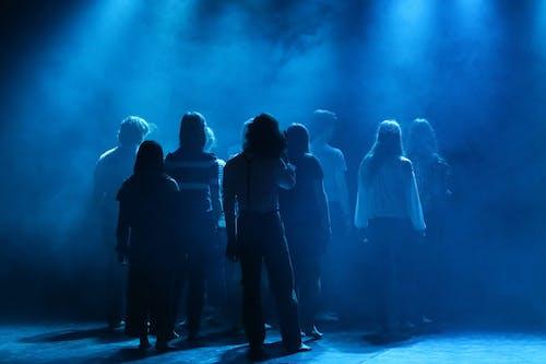 Δωρεάν στοκ φωτογραφιών με μπλε φως, ομάδα, σιλουέτες, σκηνή