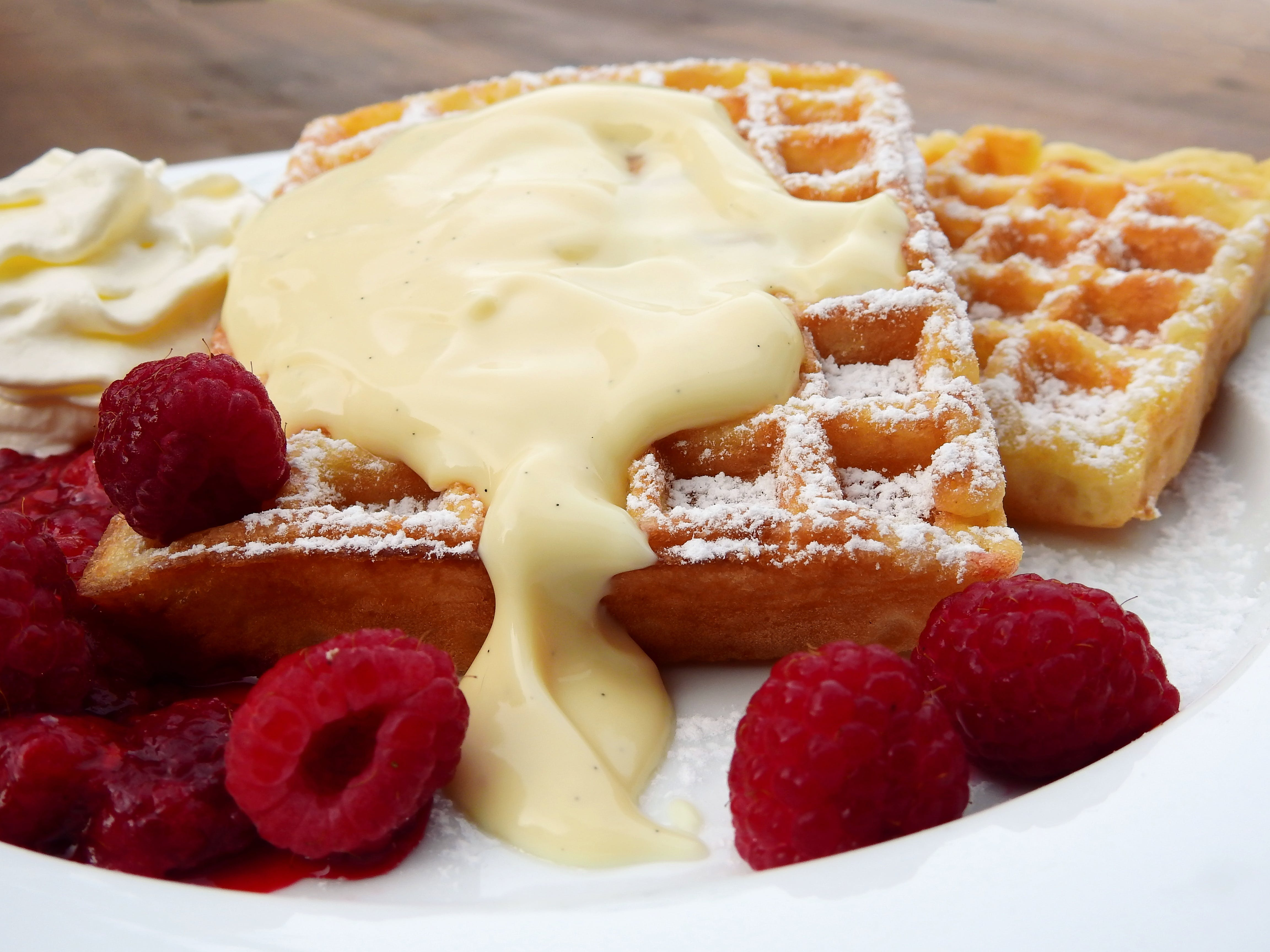 Plate of Waffles and Raspberries