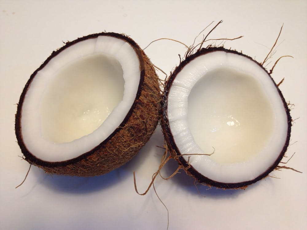 coconut sliced into two