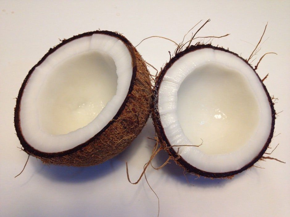 Coconut Fruit Sliced Into Two kokos
