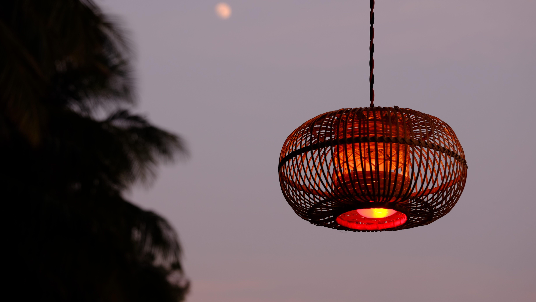 Brown Pendant Lamp during Nighttime