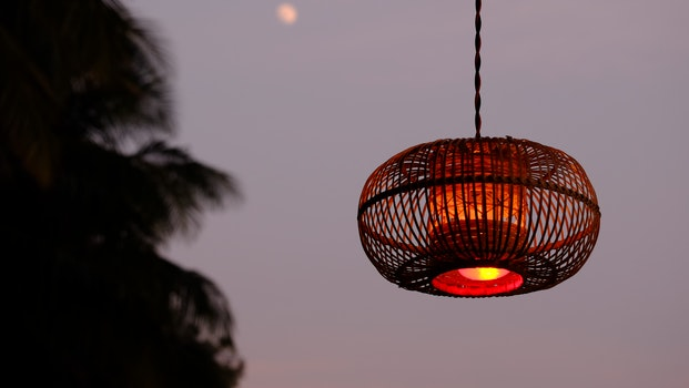 Brown Pendant Lamp during Nighttime
