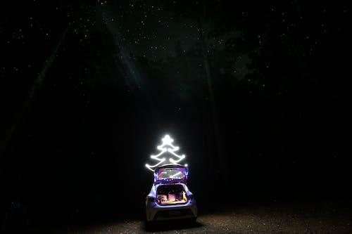 Immagine gratuita di albero di natale, campeggio, lunga esposizione, star