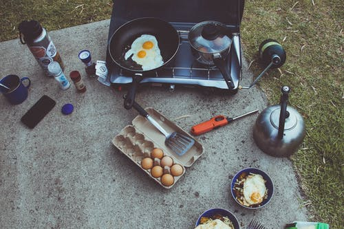 Free stock photo of breakfast, camp kitchen, camping, coffee