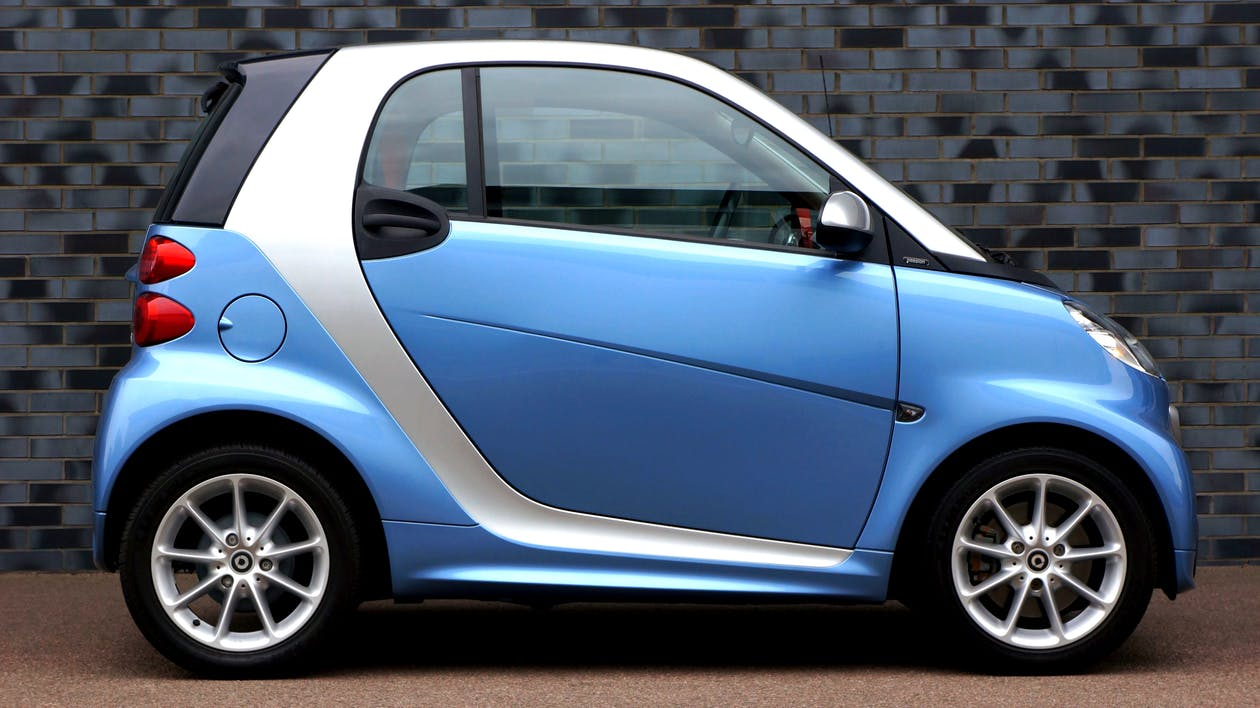 Blue and White Smart Car