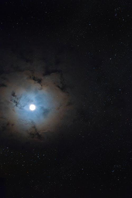 Free stock photo of cloudy night, full moon, night sky