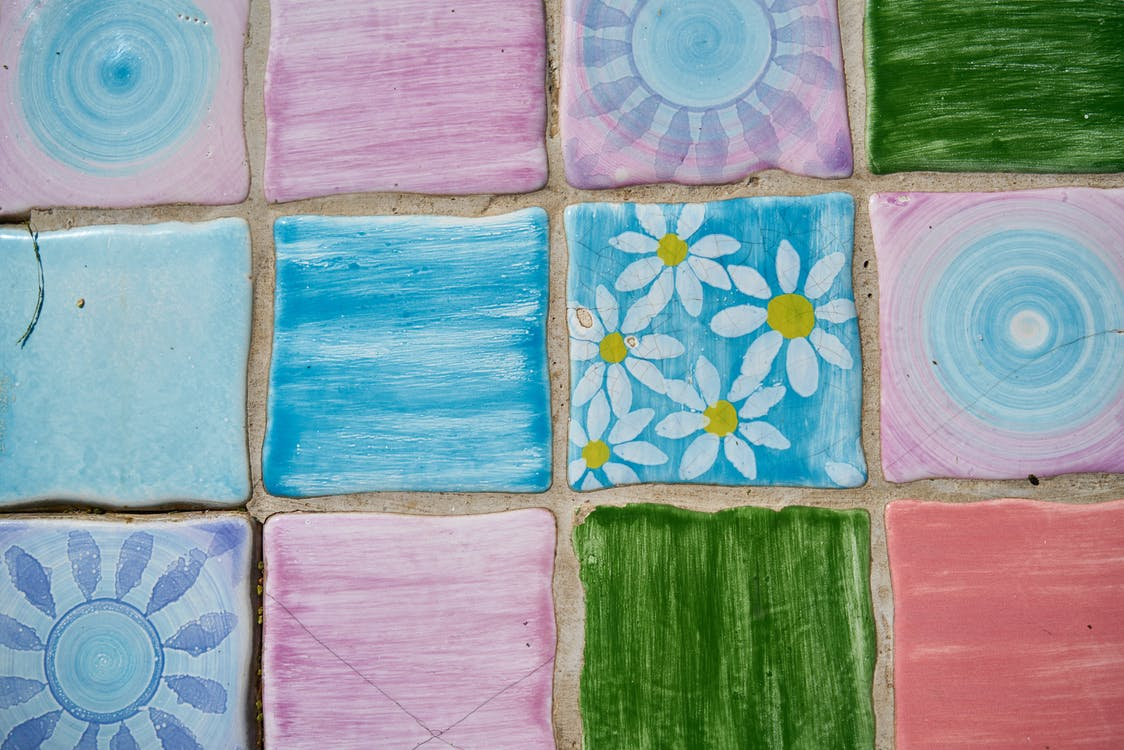 Pink, Blue, Green And White Tiles