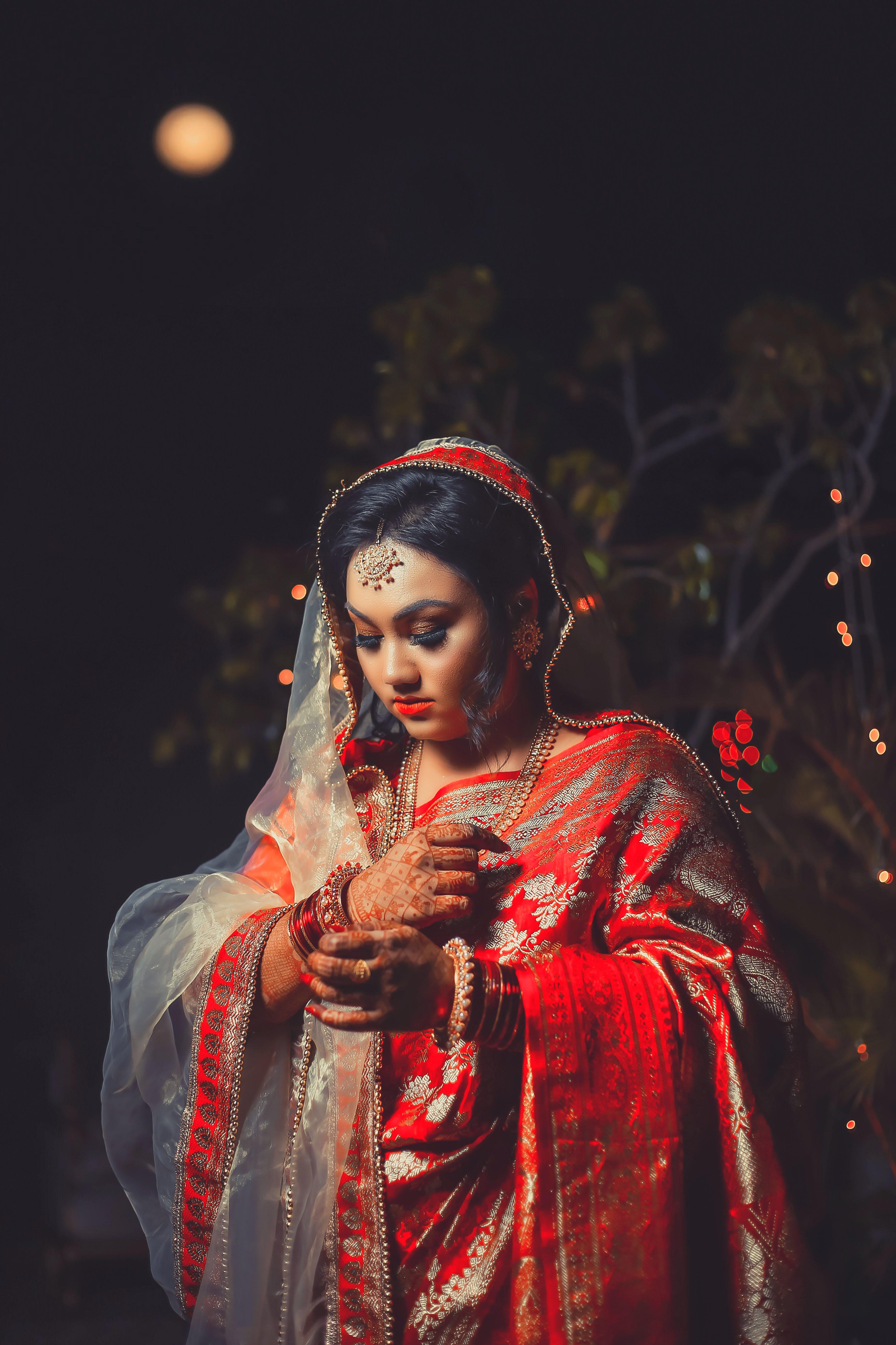 Základová fotografie zdarma na téma červená saree, elegantní, festival, hezký