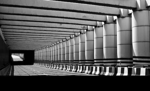 Darmowe zdjęcie z galerii z architektura, czarno-biały, droga, filary