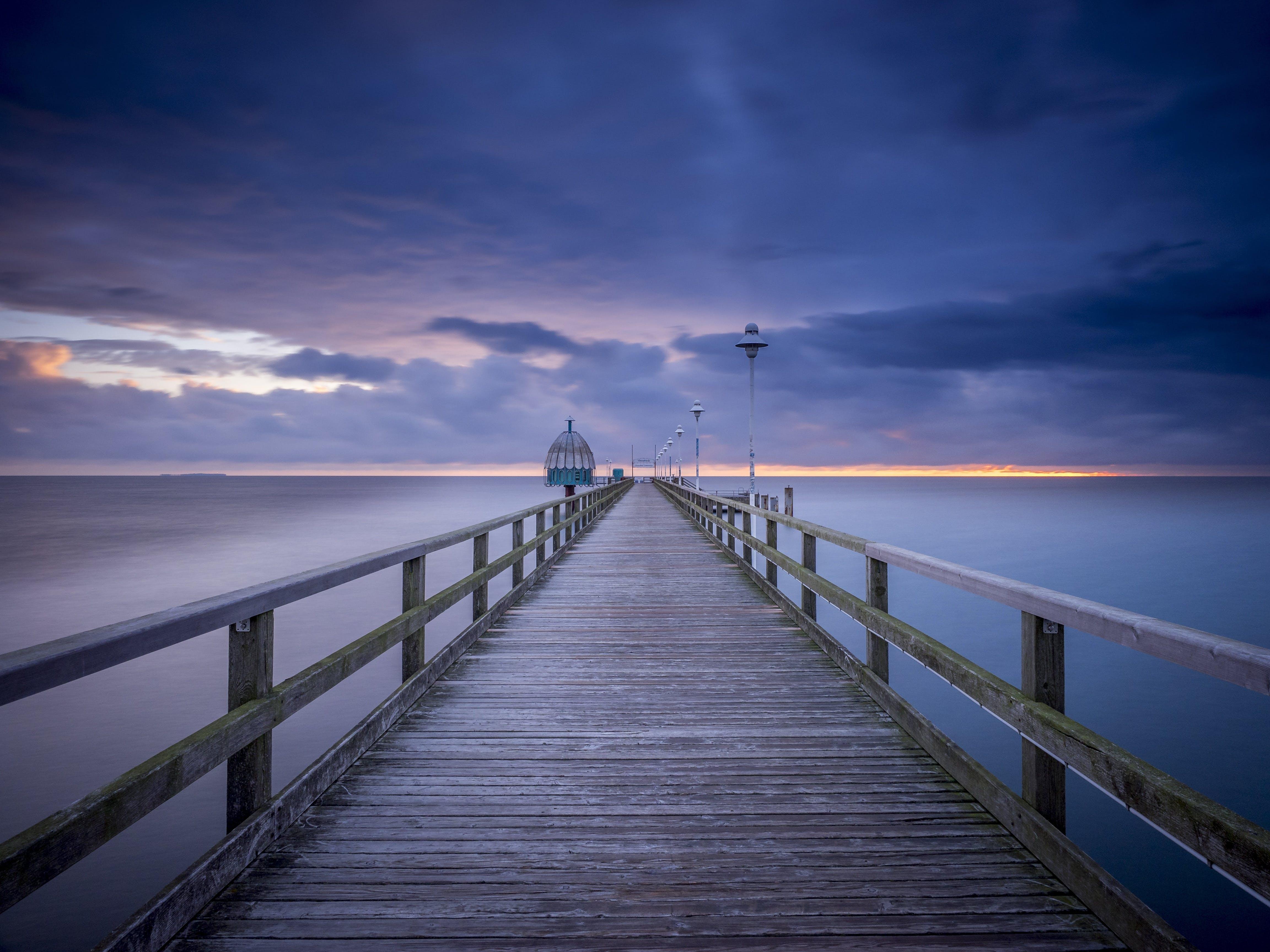 Безкоштовне стокове фото на тему «вечір, горизонт, довга експозиція, док»
