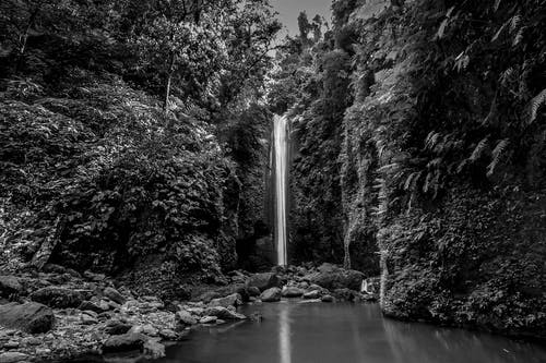 Grayscale Photography of Water Falls