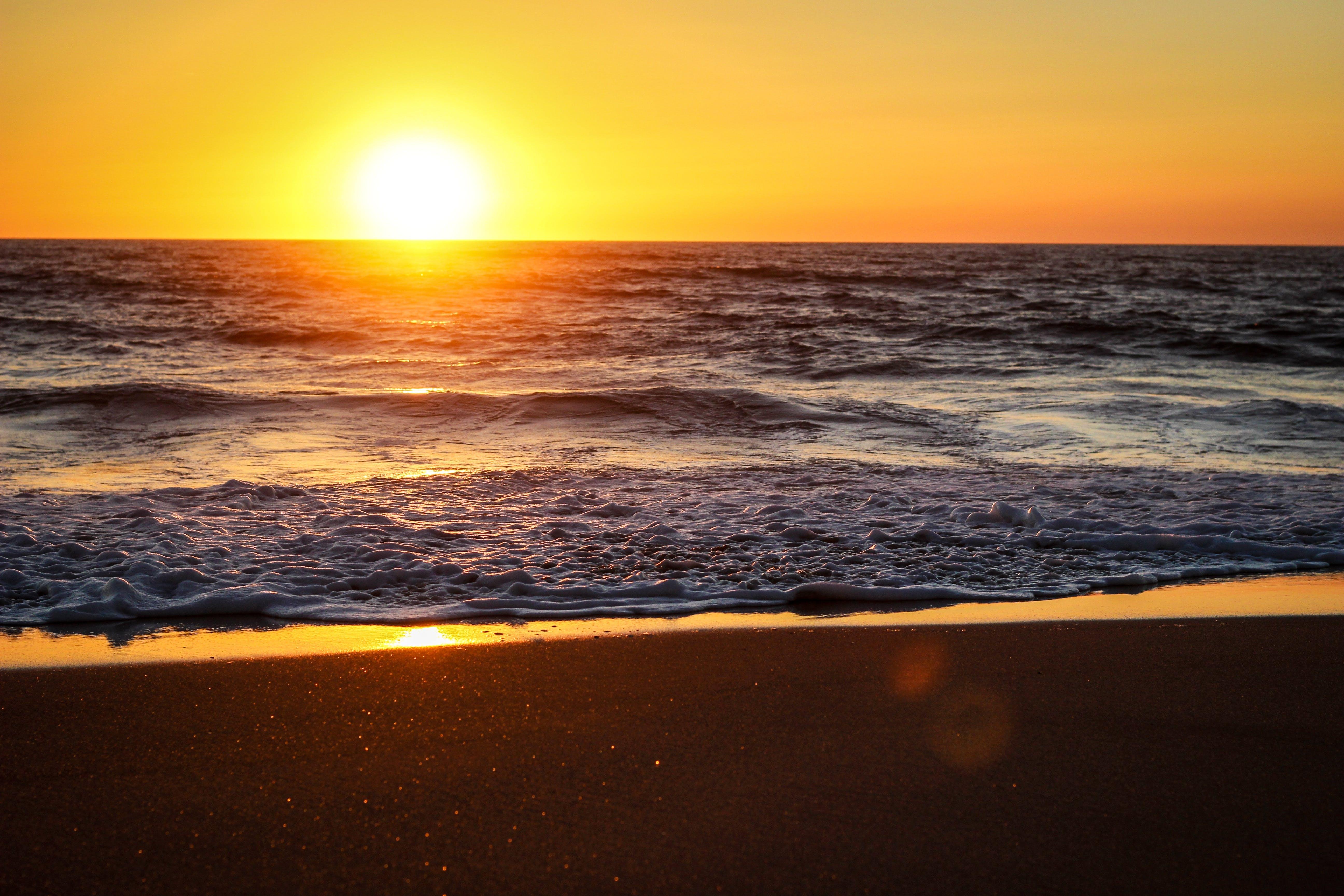 Blue Sea Under Golden Hour